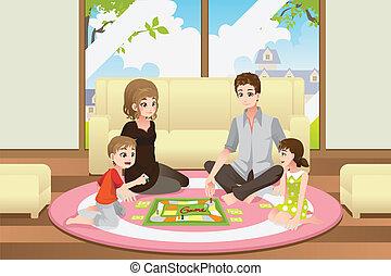 jeu, jouer, famille, planche