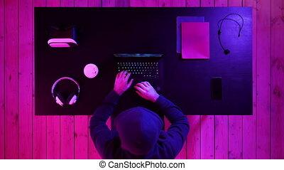 jeu, jouer, laptop., lunettes, homme