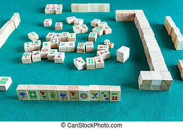 jeu, jouer, planche, mahjong