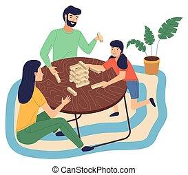 jeu, jouer, tour, table, famille, cartoon., maison heureuse, ensemble, enfants, plat, parents