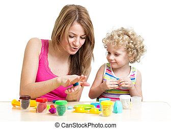 jeu, jouet, coloré, mère, enfant, argile
