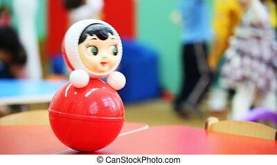jeu, jouet, defocus, roly-poly, il, derrière, wobbles, ...