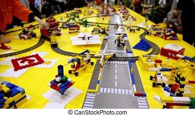 jeu, jouet, différent, objets, chemin fer, gosse