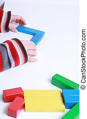 jeu, jouet, enfant, isolé, mains