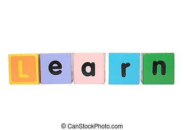 jeu, jouet, lettres, coupure, écrit, apprendre, sentier, bloc