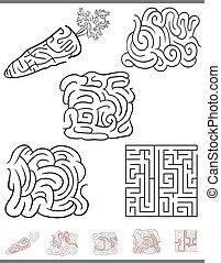 jeu, labyrinthe, ensemble, loisir