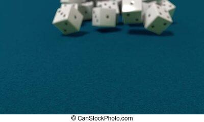 jeu, lent, dés, casino, dof, mouvement, vegas, closeup, ...
