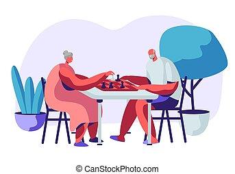 jeu, loisir, home., personne agee, dépenser, soins, vecteur, intellectuel, illustration, retraités, gens, jouer, dessin animé, plat, couple, femme homme, délassant, retiré, temps, échecs, gai, sparetime.