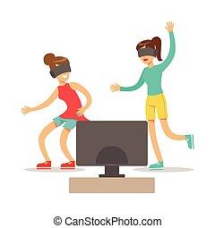 jeu, lunettes, gamers, gens, intérieur, jeu, réalité virtuelle, informatique, vidéo, petites amies, amusement, apprécier, jouer, avoir, heureux