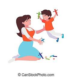 jeu mère, caractères, fils
