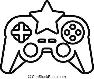 jeu, manche balai, étoile, icône, contour, vidéo, style