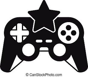 jeu, manche balai, étoile, icône, simple, vidéo, style