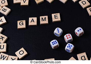 jeu mots, à, bois, lettres, sur, noir, planche, à, dés, et, lettre, dans, les, cercle