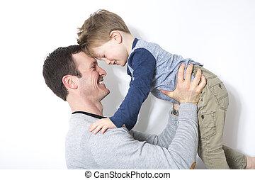 jeu, mur, père, fils, devant, blanc, heureux
