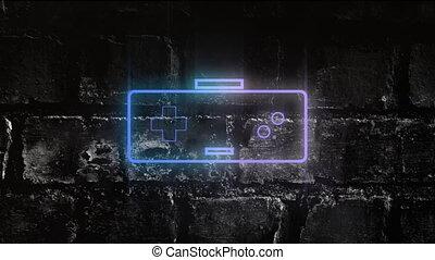 jeu, néon, contrôleur