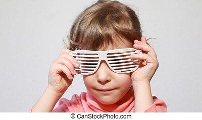 jeu, nuances, peu, volet, girl, lunettes