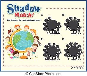 jeu, ombre, assorti, gabarit, enfants