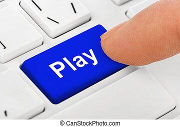 jeu, ordinateur cahier, clã©, clavier