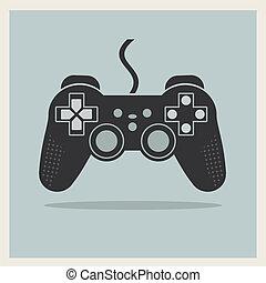 jeu ordinateur, contrôleur, vecteur, vidéo, manche balai