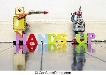 jeu, ou, argent, mains, vie, haut, robot, jouets, ton