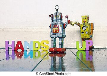 jeu, ou, vieux, bois, argent, mains, vie, haut, jouets, robot, ton