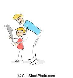 jeu, père, fils, comment, base-ball, enseignement