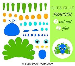 jeu, pédagogique, peacock., papier, coupure, colle, préscolaire, children., bébé