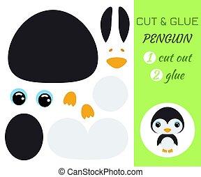 jeu, pédagogique, penguin., papier, coupure, colle, préscolaire, children., bébé