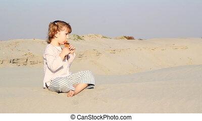 jeu, petite fille, pan-pipe