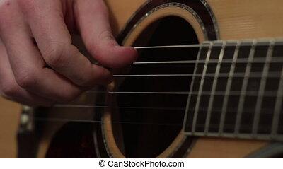jeu, peu profond, technique, foyer, guitare, acoustique