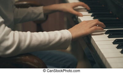 jeu, piano., apprentissage, enfant