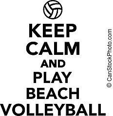 jeu, plage, calme, volley-ball, garder