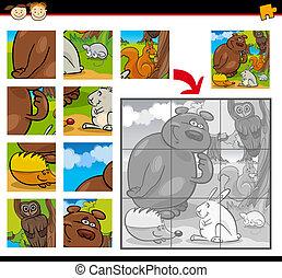 jeu, puzzle, animaux, puzzle, dessin animé