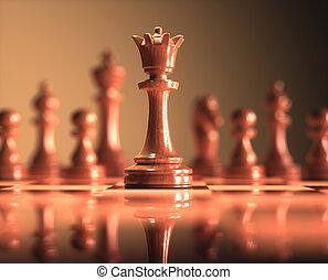 jeu, reine, échecs abordent