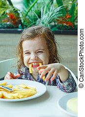 jeu, restaurant., frire, peu, francais, girl