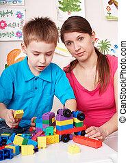 jeu, room., ensemble construction, enfant, jeux