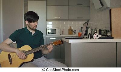 jeu, séance, ordinateur portable, jeune, guitare, ...