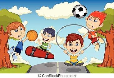 jeu, sauter, basket-ball, enfants