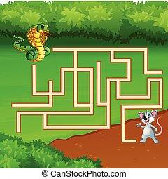 jeu, serpent, manière, labyrinthe, souris, trouver