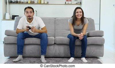 jeu, sien, jeux, homme, épouse