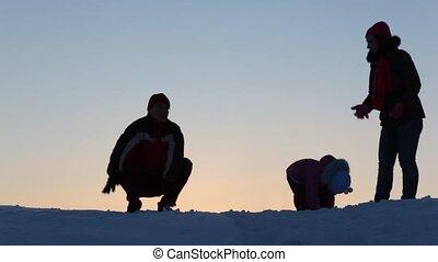 jeu, silhouette, neige, famille