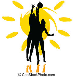 jeu, silhouette, soleil, deux, volley-ball, girl