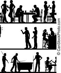 jeu, silhouettes, pub
