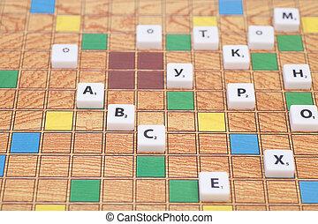 jeu société, à, les, lettres, et, nombres