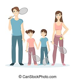 jeu, sport, famille, tennis.