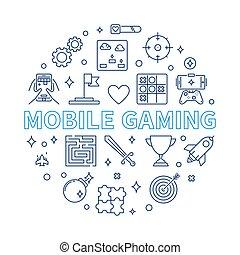 jeu, style, contour, mobile, illustration, vecteur, rond