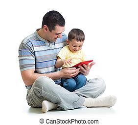 jeu, tablette, lire, père, regarder, informatique, enfant