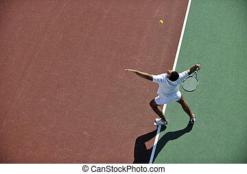 jeu, tennis, jeune homme