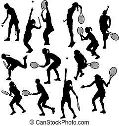 jeu, tennis, silhouettes, femmes