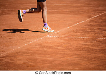 jeu tennis, sur, cour argile